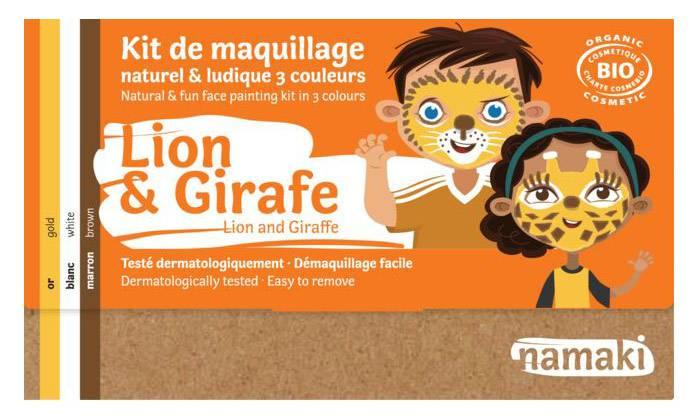 NAMAKI Kit maquillage bio 3 couleurs - Lion et Girafe