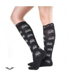 Chaussettes Queen Of Darkness Gothique Sheer Black Socks With White Skulls