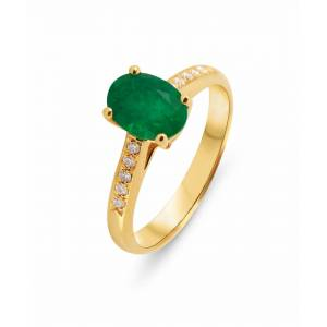 Trabbia Vuillermoz Bague Or Jaune 750 Emeraude Ovale 8x6mm et Diamant - Bijoux Femme