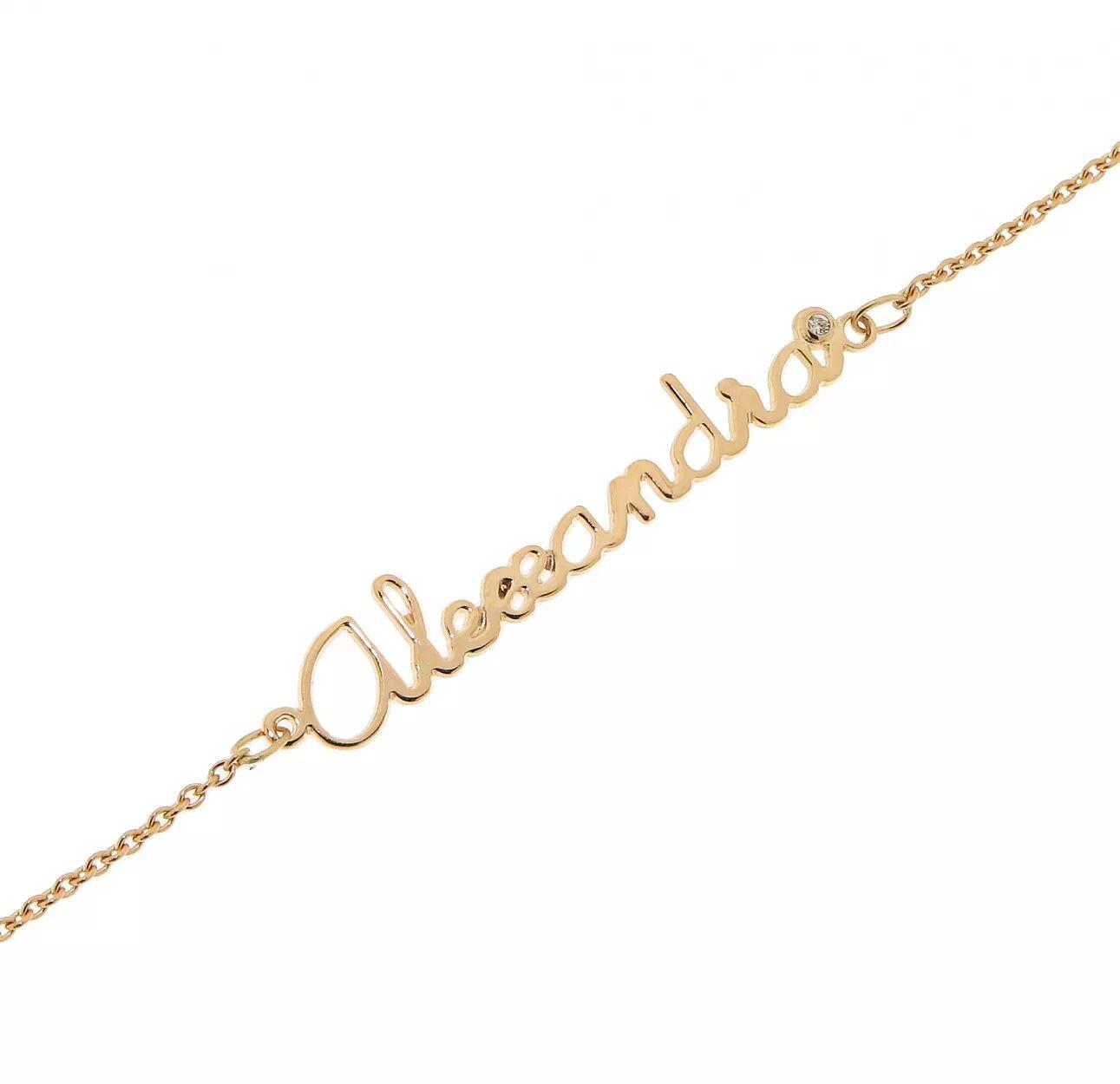 Trabbia Vuillermoz Bracelet Prenom Decoupe Or Jaune et Diamant Sur Mesure - Bijoux Femme ou Enfant