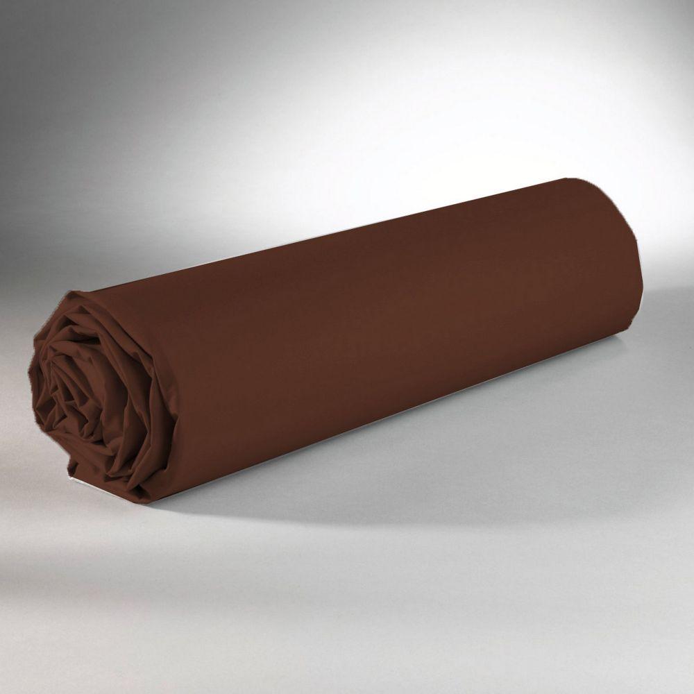 Drap housse 100% Coton 57 fils Cacao 160x200