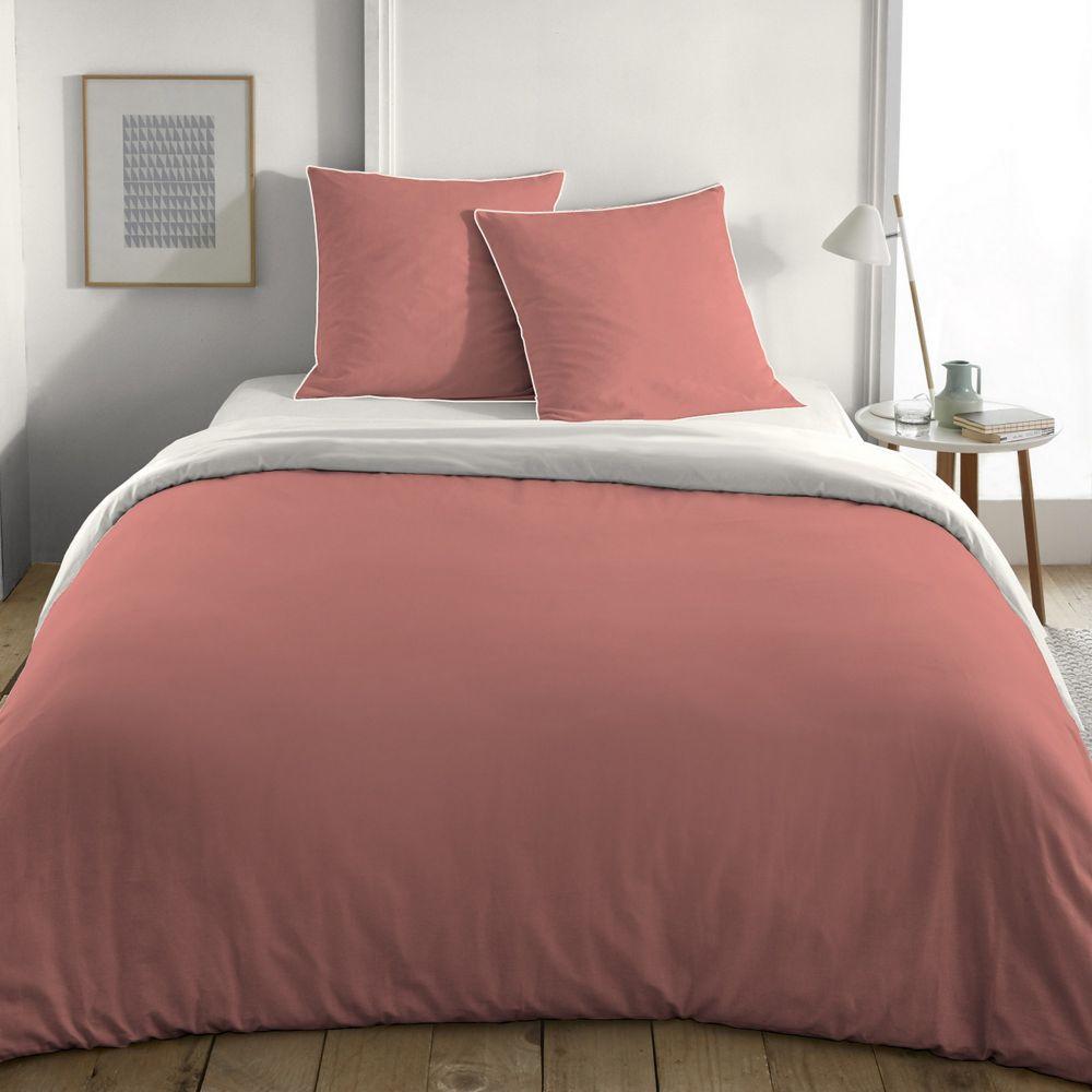 Parure de lit - Housse de couette 100% Coton Bio 57 fils Bic Blush/Beige : Taille - 200 x 200 cm