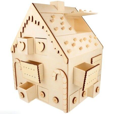 Artemio Calendrier de l'avent en bois - Maison en pain d'épice - 26,5 x 23,5 x 33 cm