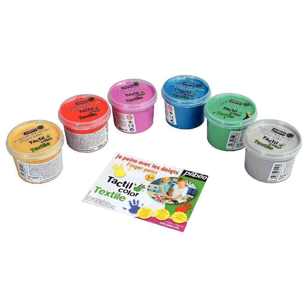PEBEO Peinture aux doigts pour textile - Boîte de 6 pots de 100ml