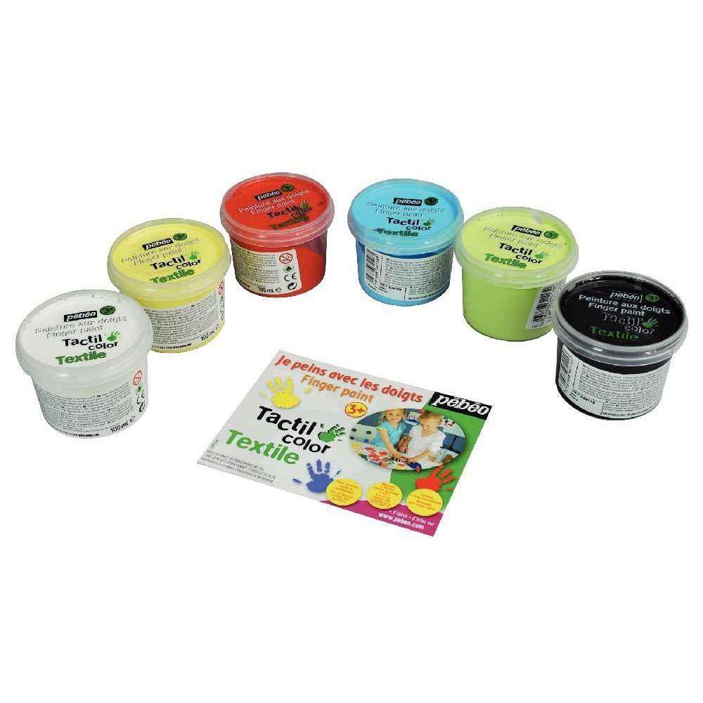 PEBEO Peinture aux doigts pour textile - Boite de 6 pots