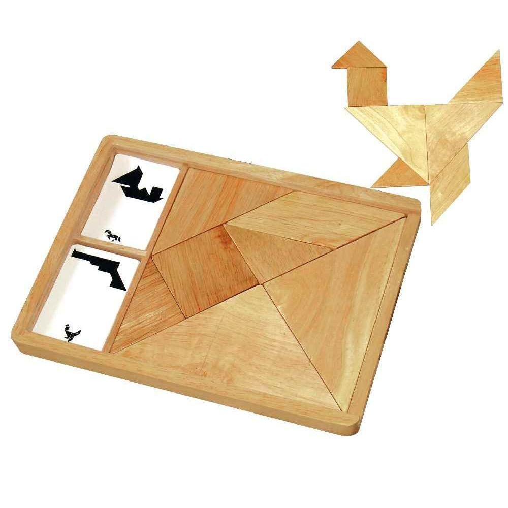 SAPIN MALIN Grand tangram en bois + 27 cartes modèles
