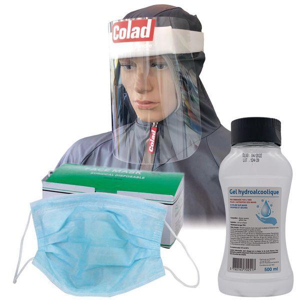 Kit EPI de protection masques, visière de protection et gel hydroalcoolique