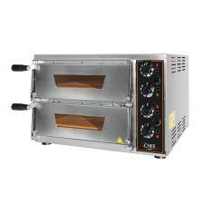 CHEFOOK Four à Pizza Électrique professionnel 2 Chambres Eko Baby 1 + 1 Pizze D. 34 cm Porte en Verre