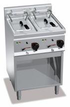 CHEFOOK Friteuse Électrique Professionnelle Sous Bassement 10 + 10 Litres High Power Profondeur 60 cm