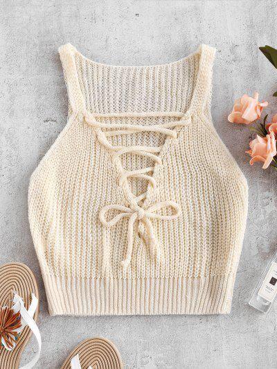Zaful Top au Crochet à Lacets Blanche Amande XL