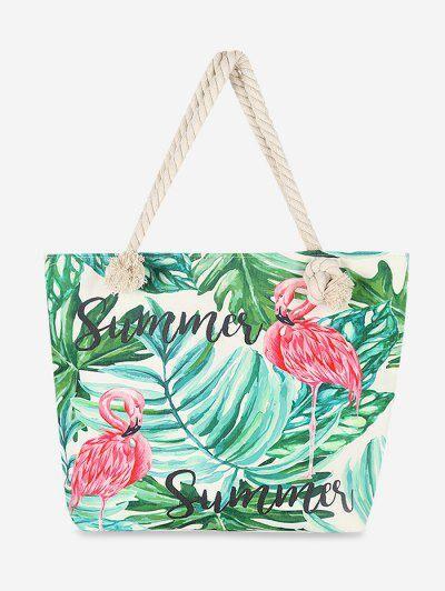 Zaful Sac fourre-tout en toile Feuilles Flamingo Vert Algue