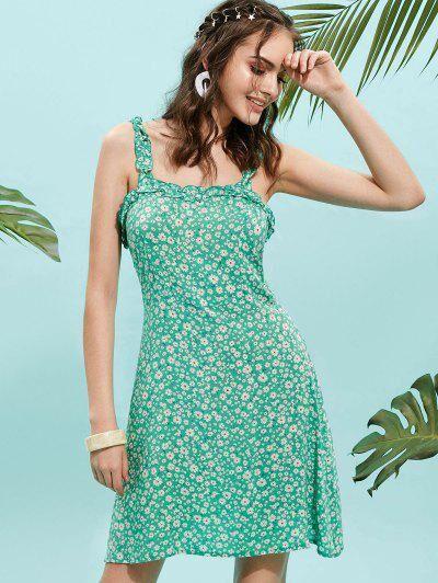 ZAFUL - Robe évasée à bretelles et imprimé à fleurs Vert Algues S