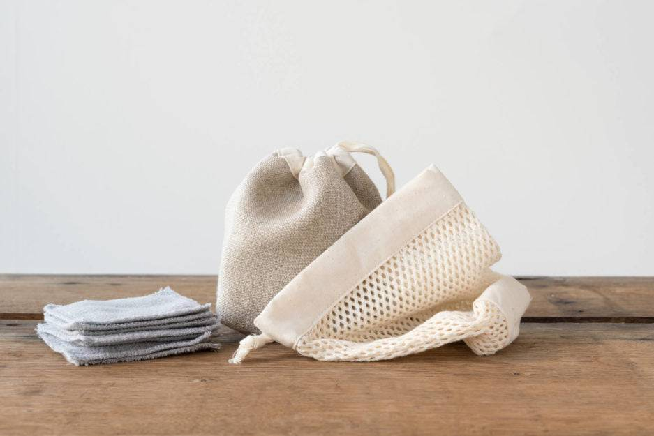 Mana Mani Kit cotons démaquillants lavables (15 carrés en tencel + 1 pochon + 1 filet)