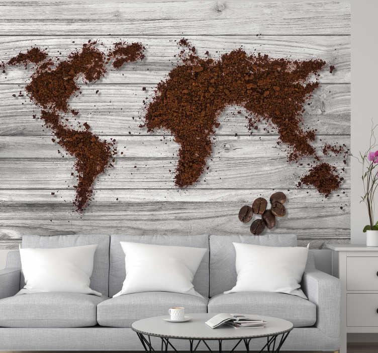 TenStickers - Photo murale Carte du monde papier peint café