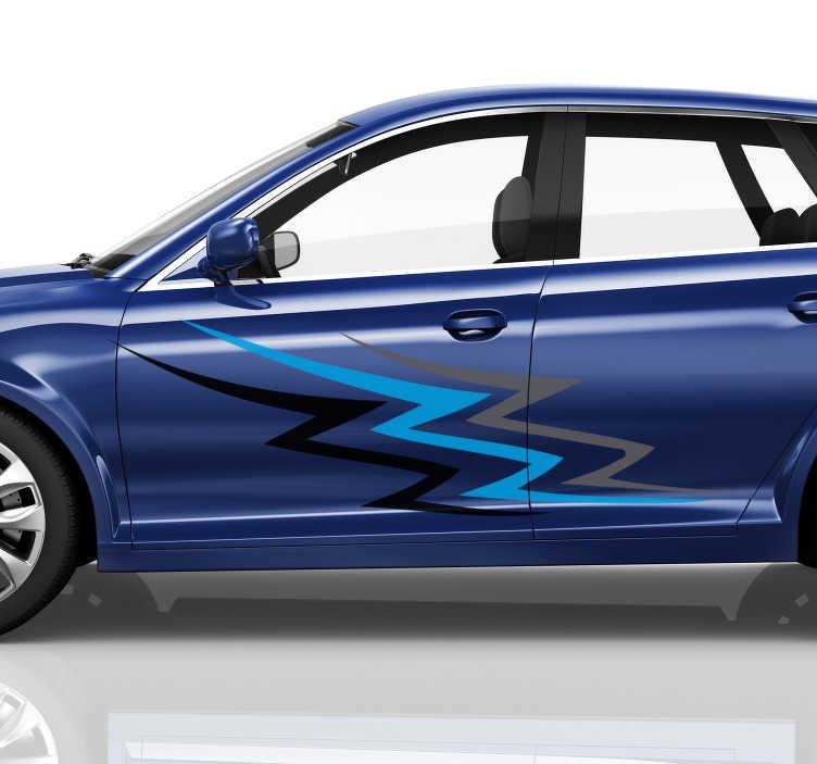 TenStickers - Stickers Sticker voiture de course bleu et gris