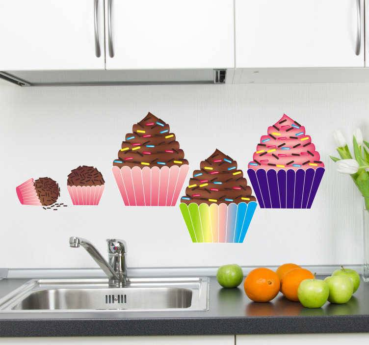 TenStickers - Stickers Sticker décoratif cupcakes chocolat