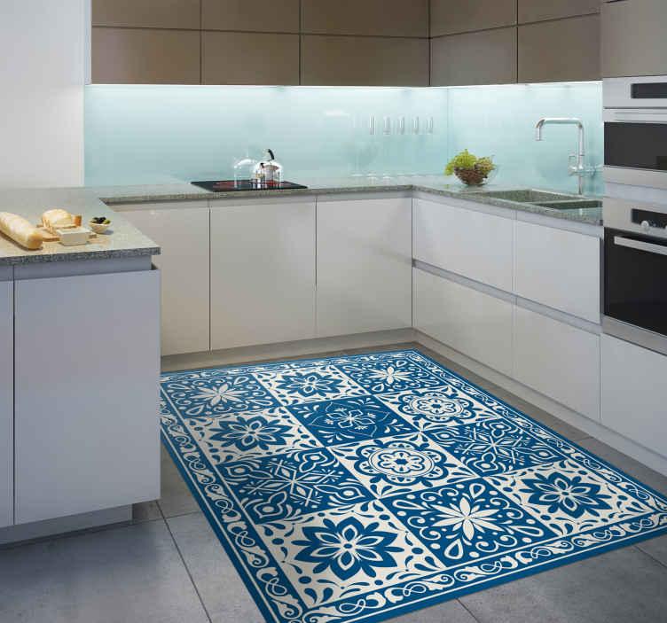 TenStickers - Tapis Vinyle Tapis de cuisine en sticker à carreaux bleu floral