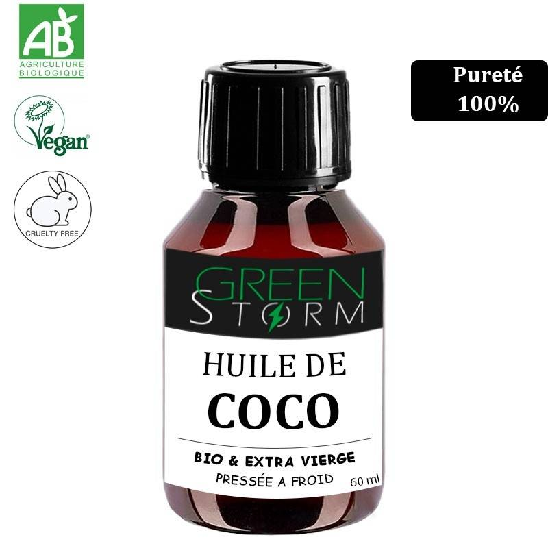 Greenstorm huile HUILE DE COCO 100% BIO 60ml Extra vierge pressé à froid idéale pour soin du corps et alimentation Greenstorm