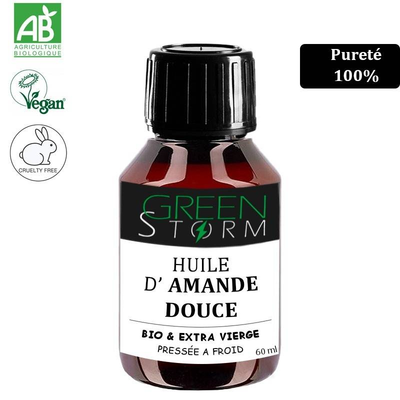 Greenstorm huile HUILE AMANDE DOUCE BIO 100% 60ml extra vierge pure et naturelle première pression à froid sans OGM Vegan Greenstorm