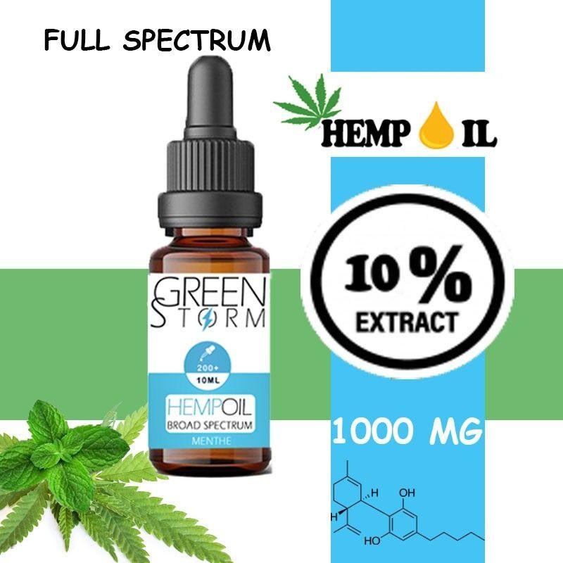Greenstorm huile Huile de CBD BIO Broad Spectrum 10% 1000 mg 10 ml Hemp Oil saveur Menthe