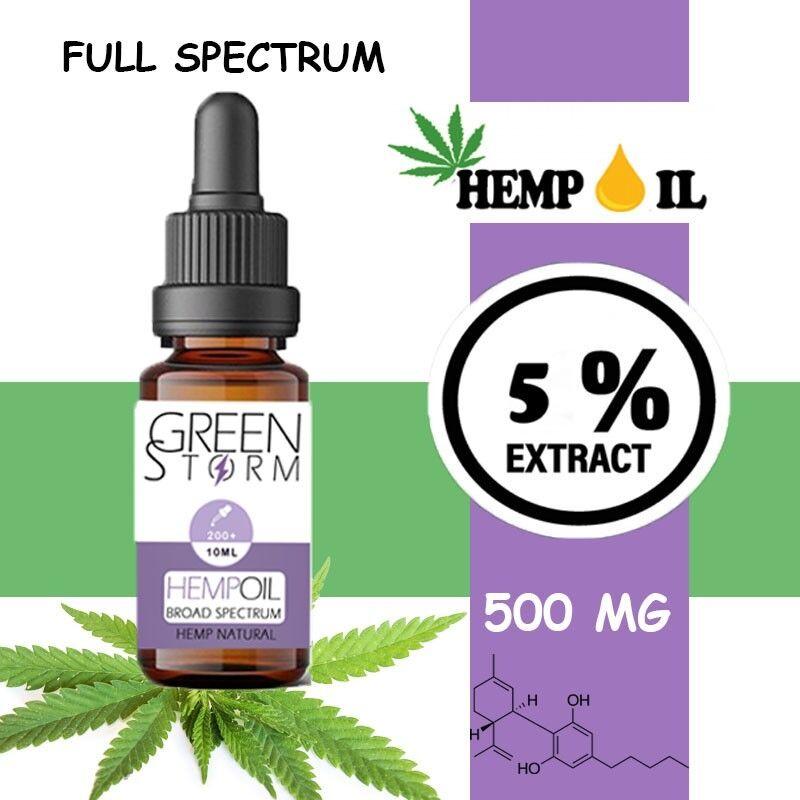 Greenstorm huile Huile de CBD BIO Broad Spectrum 5% 500 mg 10 ml saveur Hemp Natural