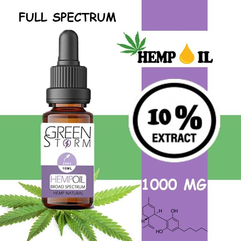 Greenstorm huile Huile de CBD BIO Broad Spectrum 10% 1000 mg 10 ml saveur Hemp Natural