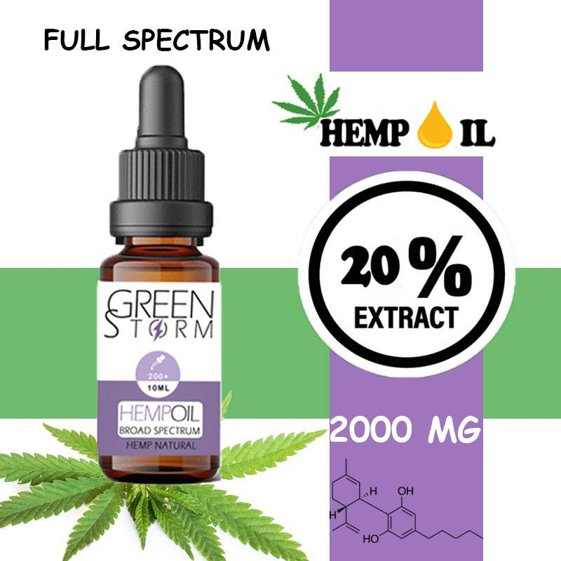Greenstorm huile Huile de CBD BIO Broad Spectrum 20% 2000 mg 10 ml saveur Hemp Natural