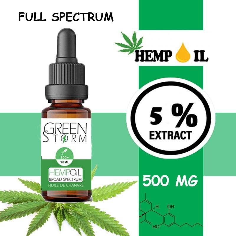 Greenstorm huile Huile de CBD BIO Broad Spectrum 5% 500 mg 10 ml