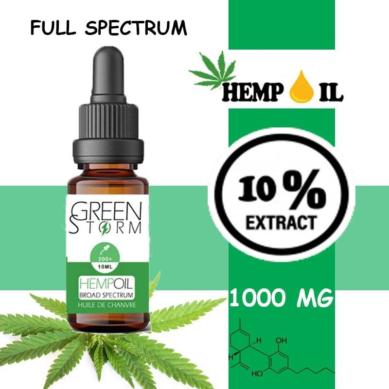 Greenstorm huile Huile de CBD BIO Broad Spectrum 10% 1000 mg 10 ml