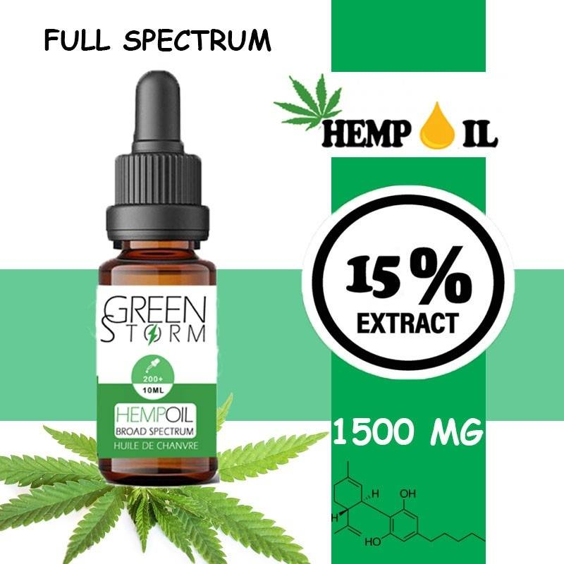 Greenstorm huile Huile de CBD BIO Broad Spectrum 15% 1500 mg 10 ml