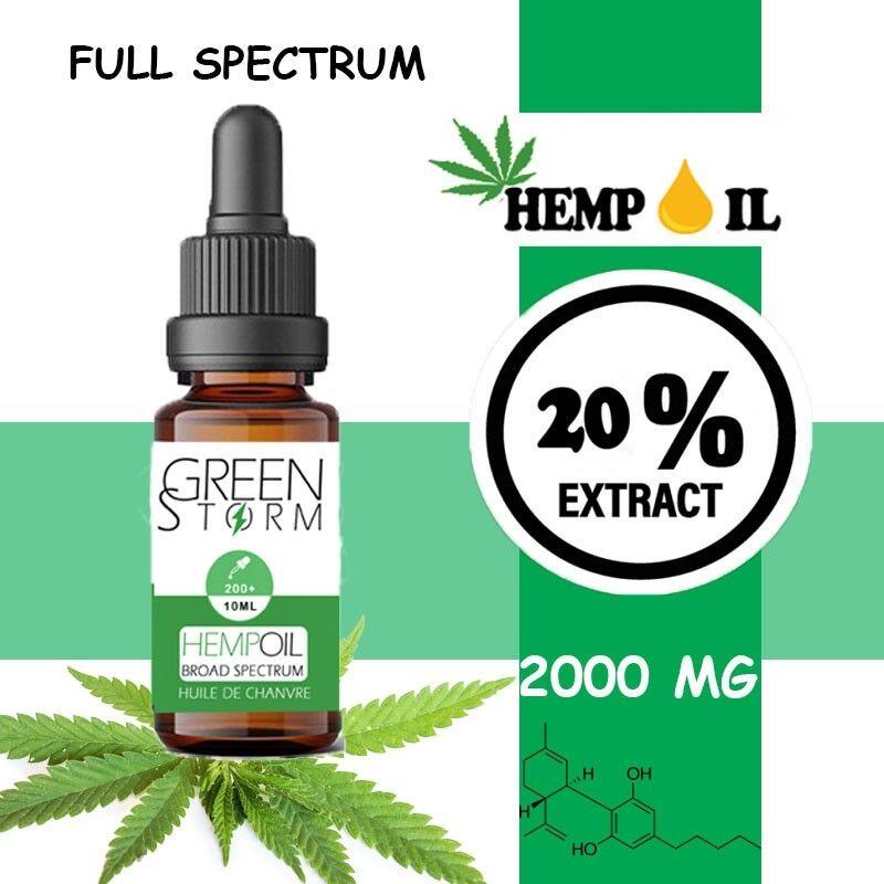 Greenstorm huile Huile de CBD BIO Broad Spectrum 20% 2000 mg 10 ml