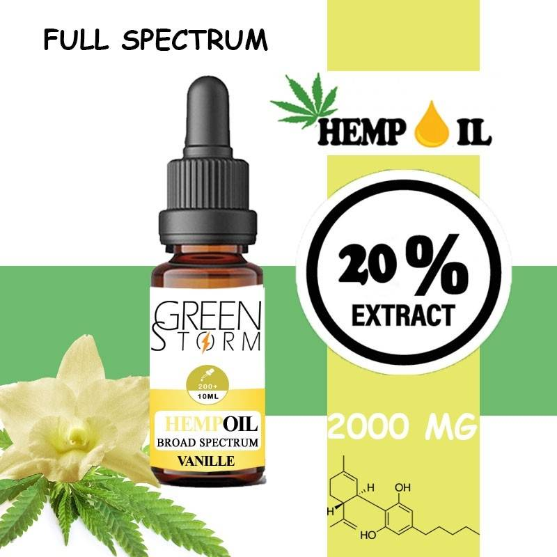 Greenstorm huile Huile de CBD BIO Broad Spectrum 20% 2000 mg 10 ml Hemp Oil saveur Vanille