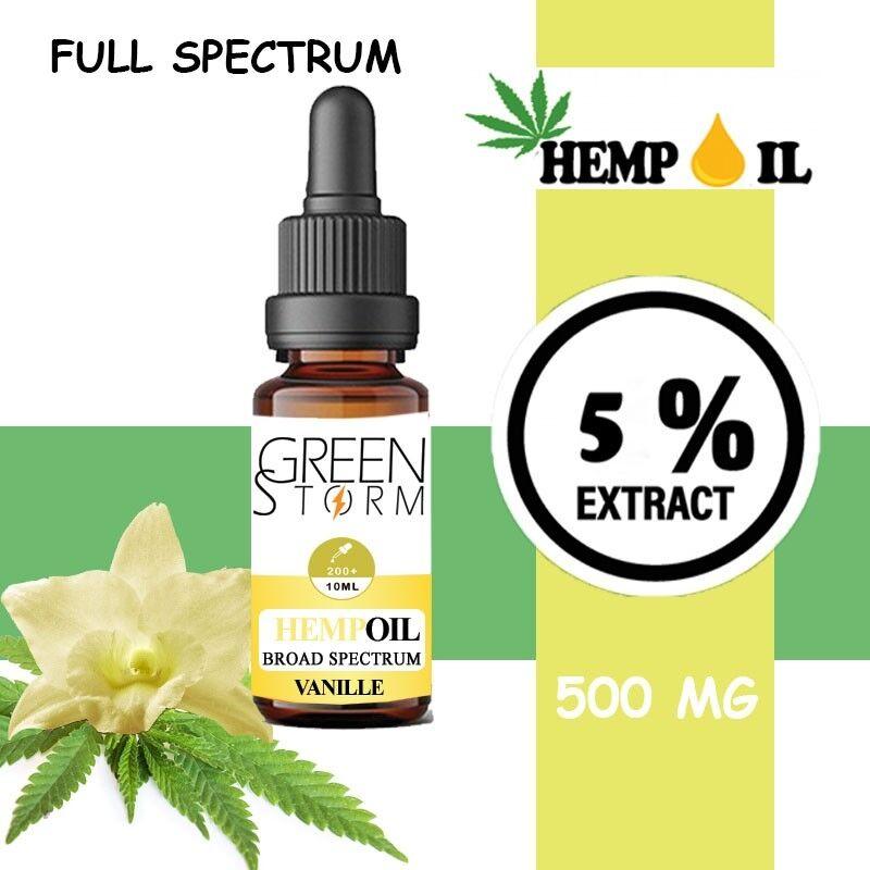 Greenstorm huile Huile de CBD BIO Broad Spectrum 5% 500 mg 10 ml Hemp Oil saveur Vanille