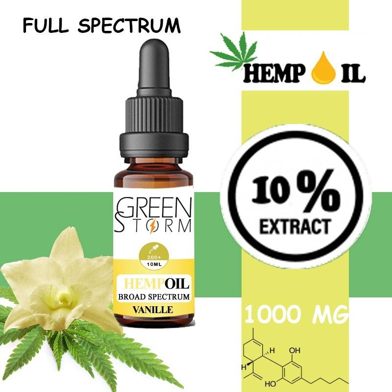 Greenstorm huile Huile de CBD BIO Broad Spectrum 10% 1000 mg 10 ml Hemp Oil saveur Vanille