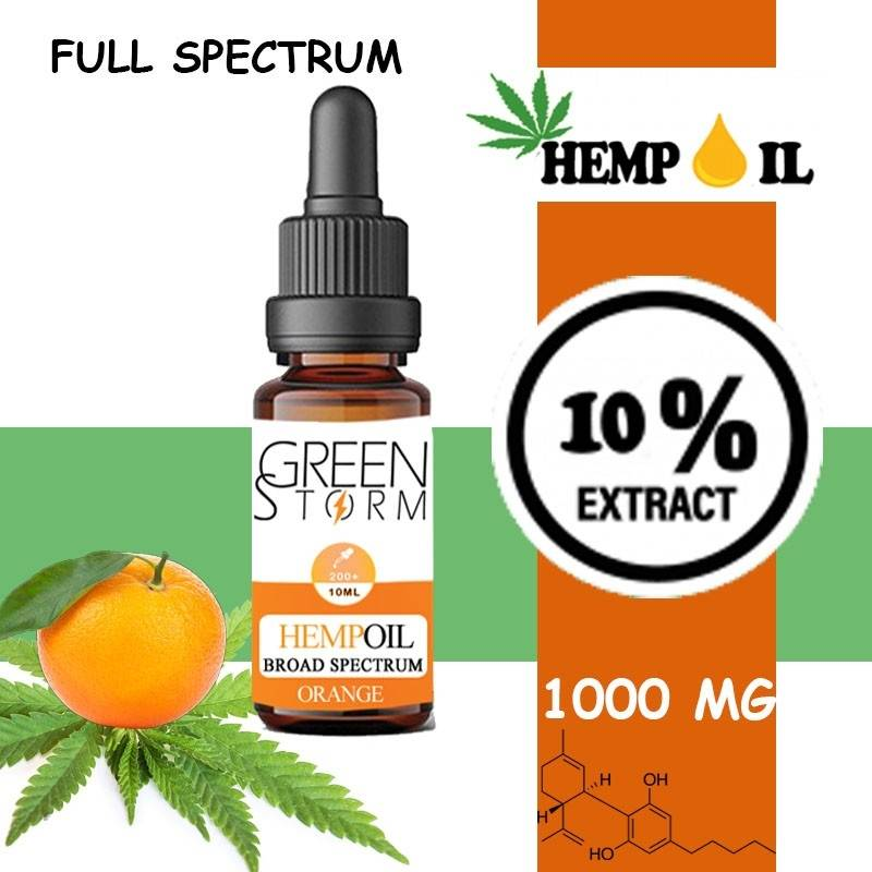 Greenstorm huile Huile de CBD BIO Broad Spectrum 10% 1000 mg 10 ml Hemp Oil saveur Orange