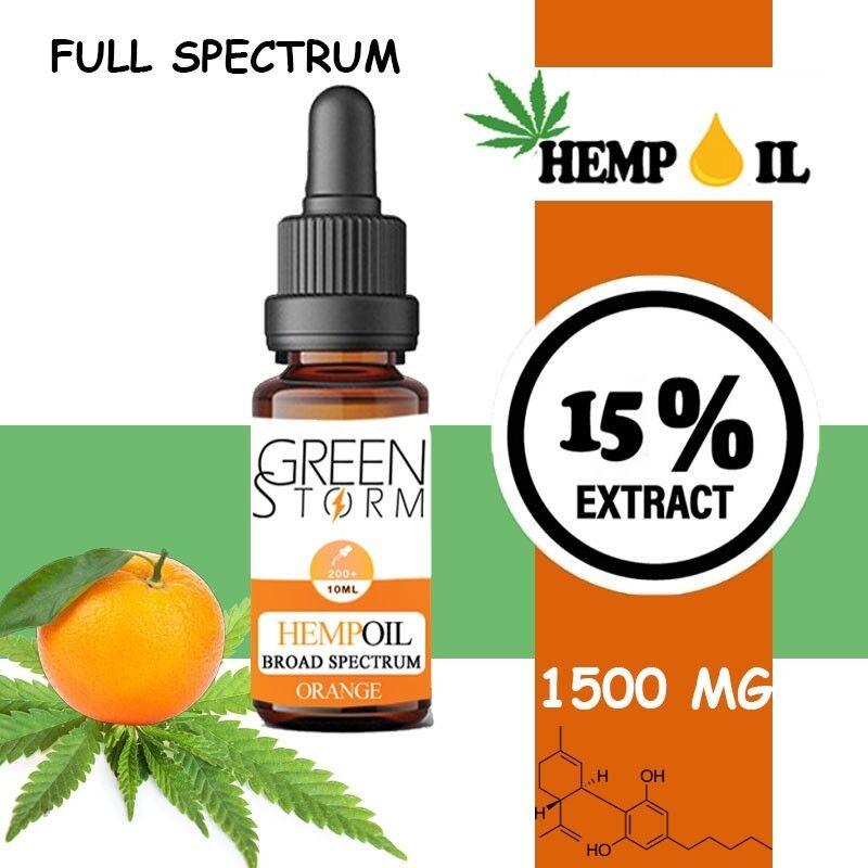 Greenstorm huile Huile de CBD BIO Broad Spectrum 15% 1500 mg 10 ml Hemp Oil saveur Orange