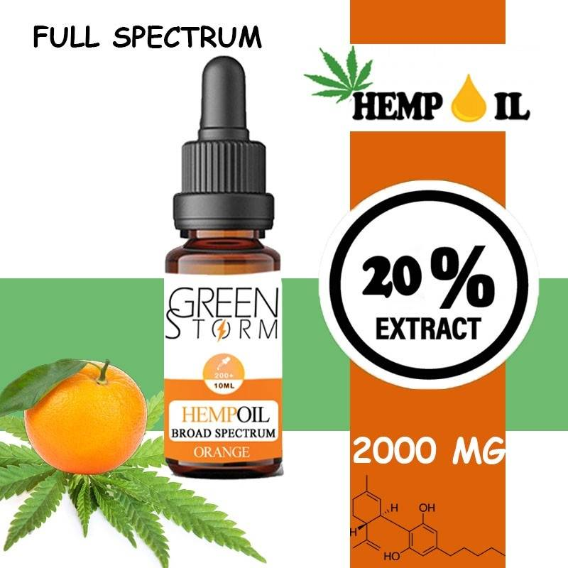 Greenstorm huile Huile de CBD BIO Broad Spectrum 20% 2000 mg 10 ml Hemp Oil saveur Orange
