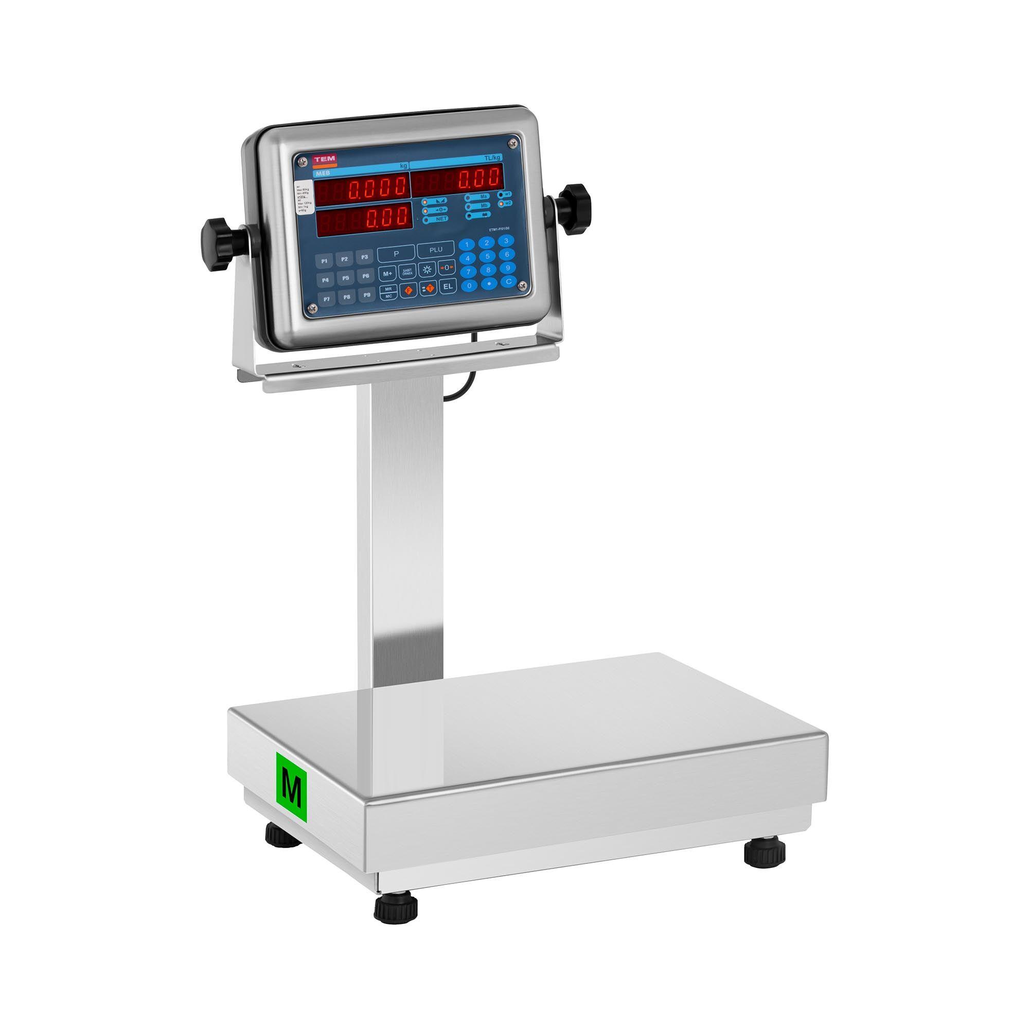 TEM Balance plateforme - Calibrage certifié - 60 kg / 20 g - 120 kg / 50 g - Fonction de calcul du prix - Afficheur LED BM1TP028X035120-B1