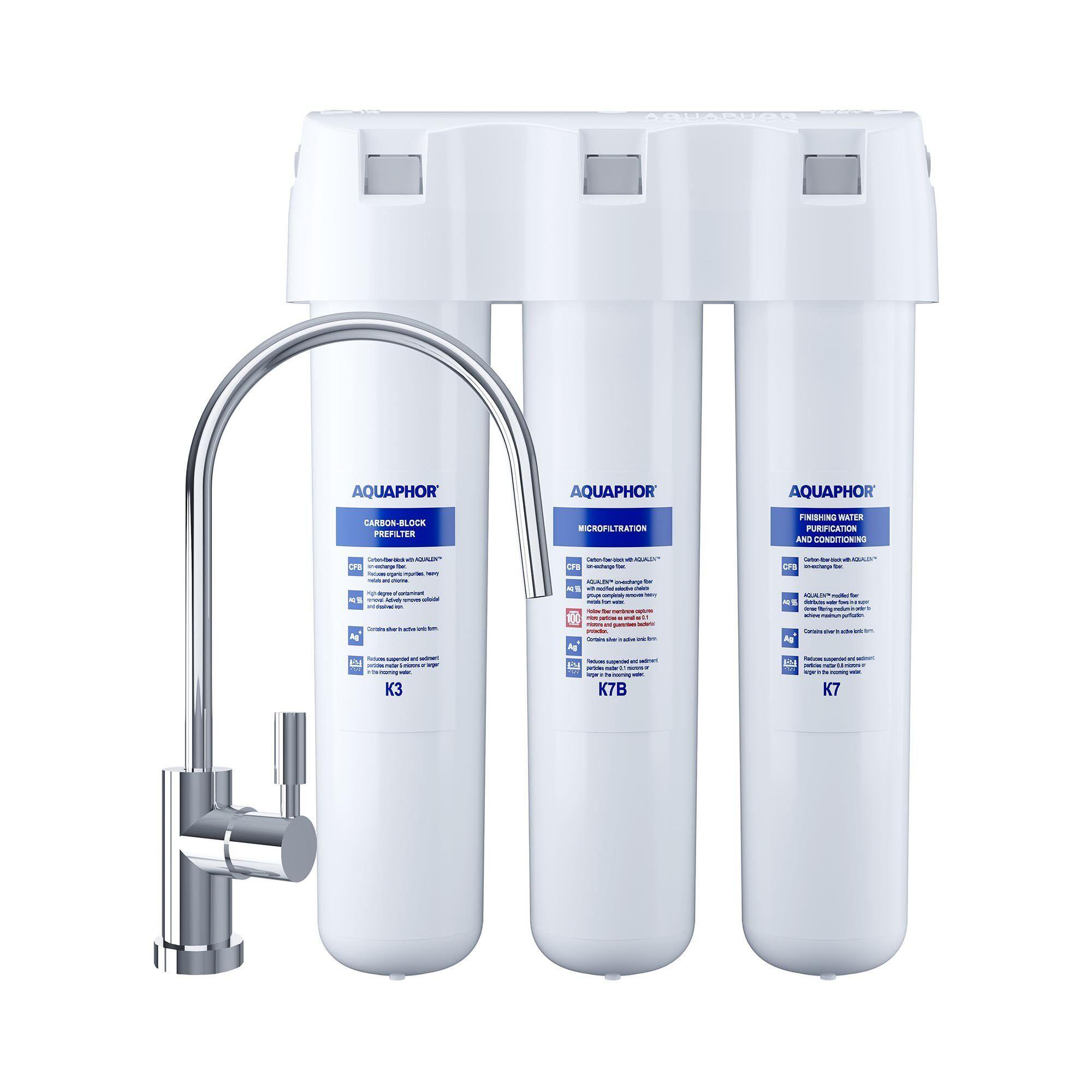 Aquaphor Filtre sous évier Aquaphor - Système de filtration d'eau à charbon actif - 3 étapes - 2,5 l/min - Avec robinet CRYSTAL B ECO