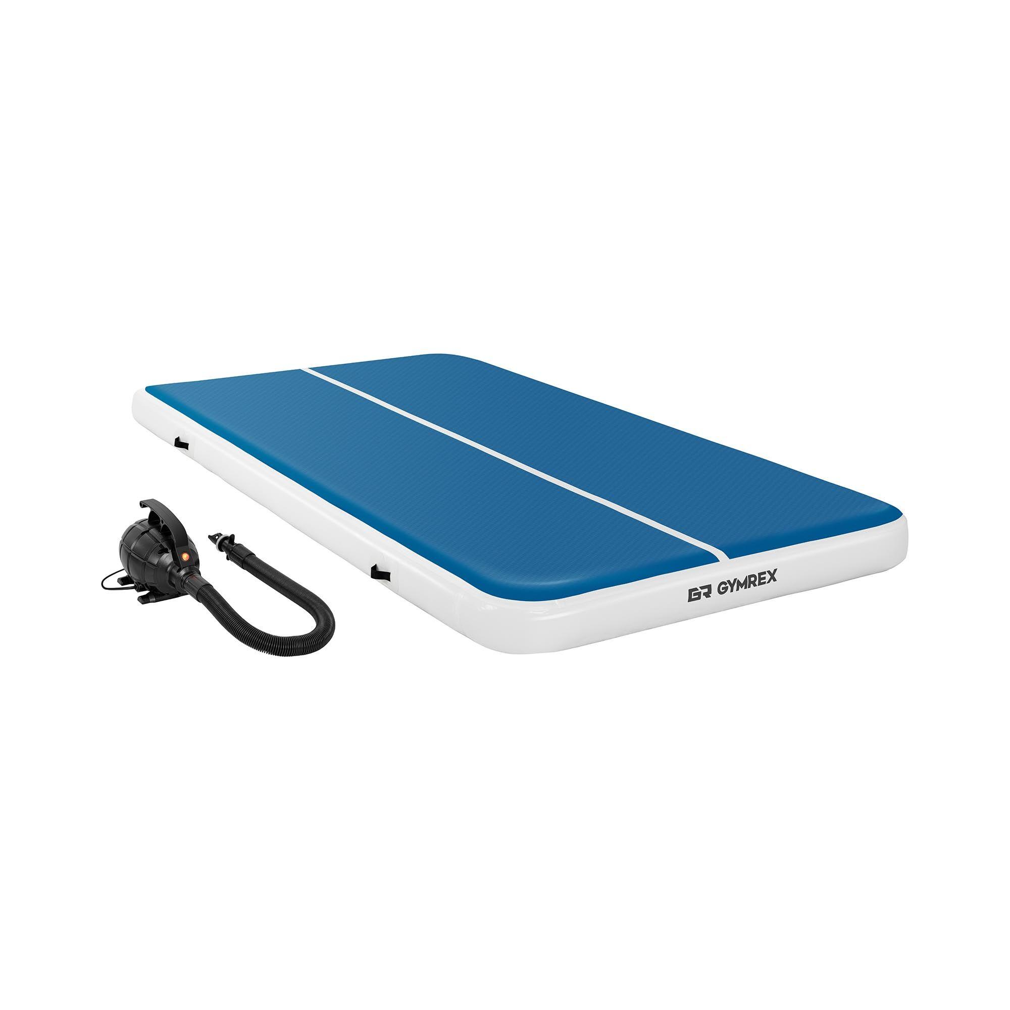 Gymrex Air track avec gonfleur électrique - 300 x 200 x 20 cm - 300 kg - Bleu/blanc GR-ATM8-SET