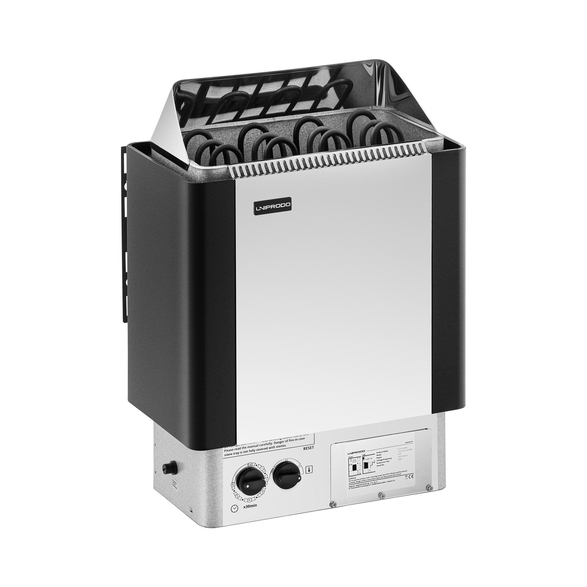 Uniprodo Poêle pour sauna - 6 kW - 30 à 110 °C - Unité de commande comprise UNI_SAUNA_S6.0KW