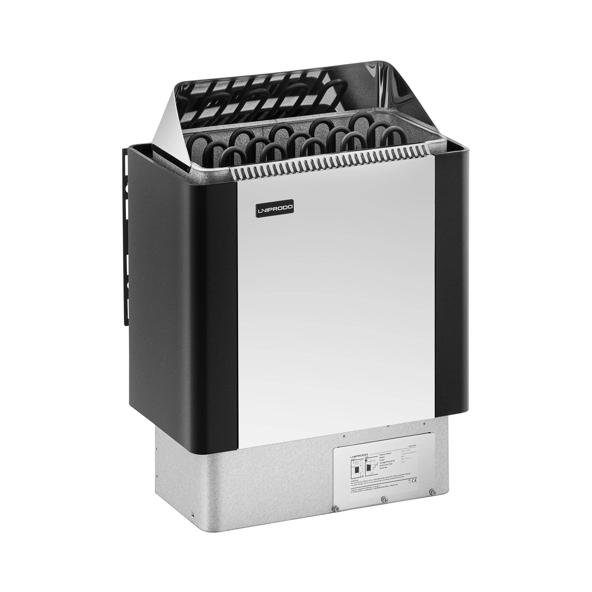Uniprodo Poêle pour sauna - 8 kW - 30 à 110 °C - Enveloppe en inox UNI_SAUNA_BS8.0KW