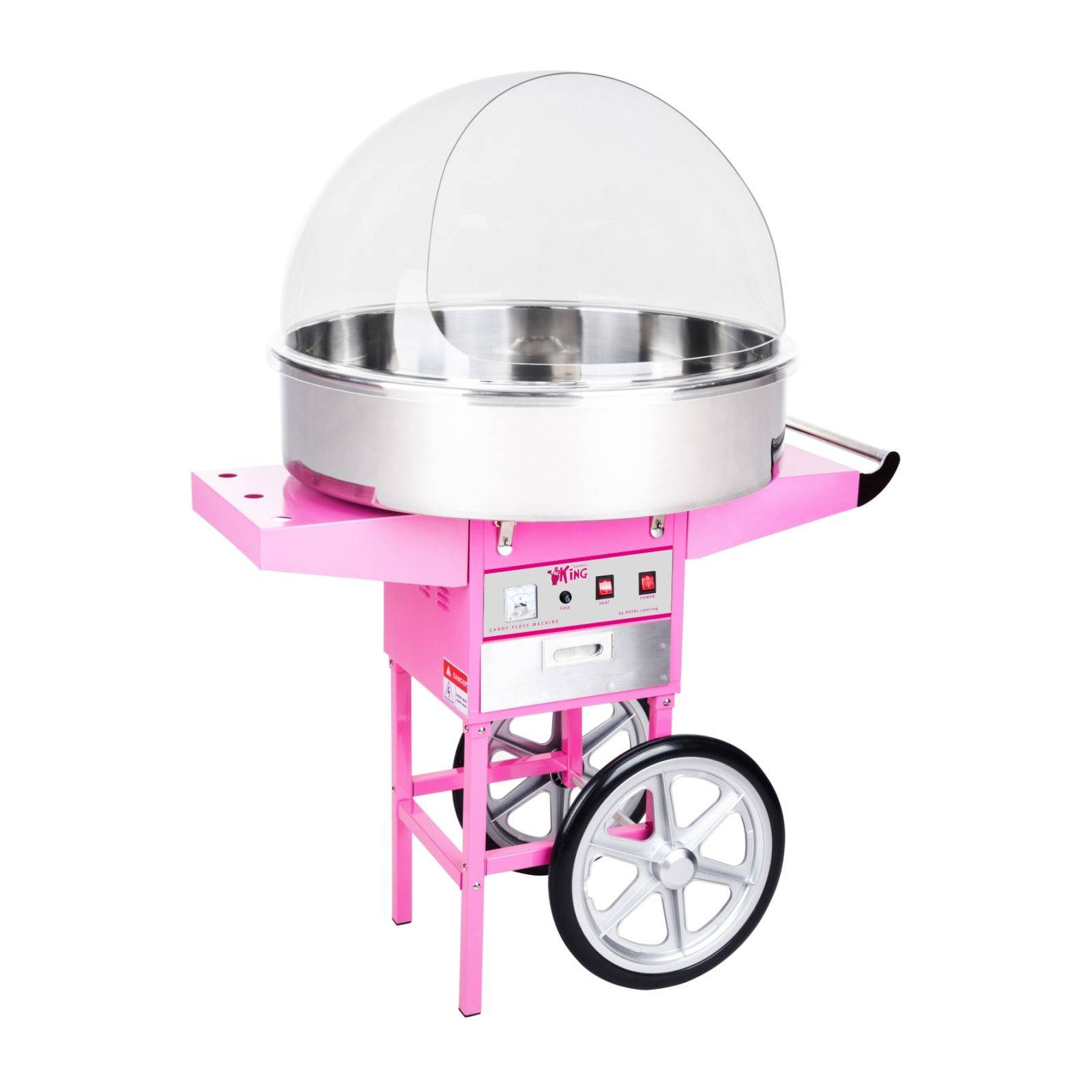 Royal Catering Machine à barbe à papa - 72 cm - 1 200 W - Chariot et coupole de protection RCZC-1200XL