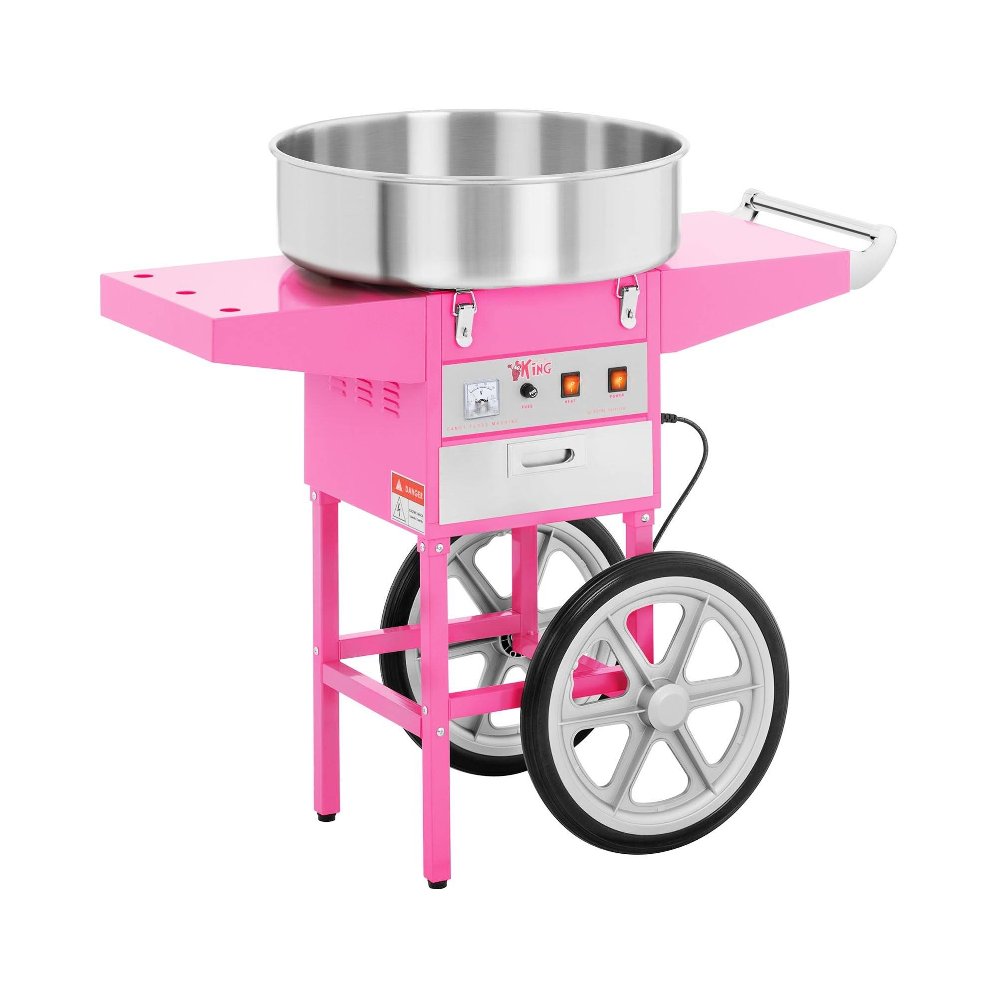 Royal Catering Machine à barbe à papa avec chariot - 52cm RCZC-1200-W