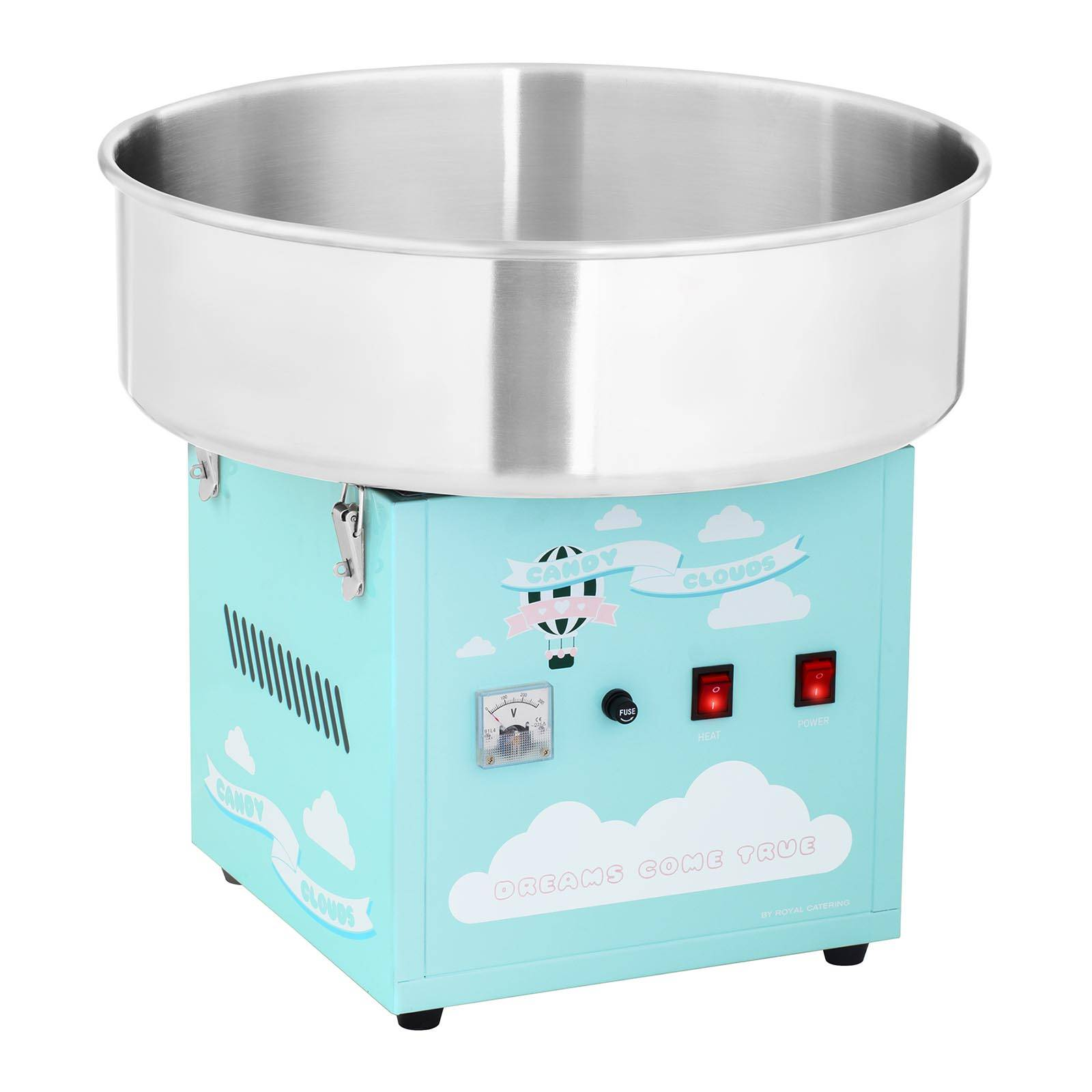 Royal Catering Machine à barbe à papa - 52 cm - 1 200 W - turquoise RCZK-1200- BG
