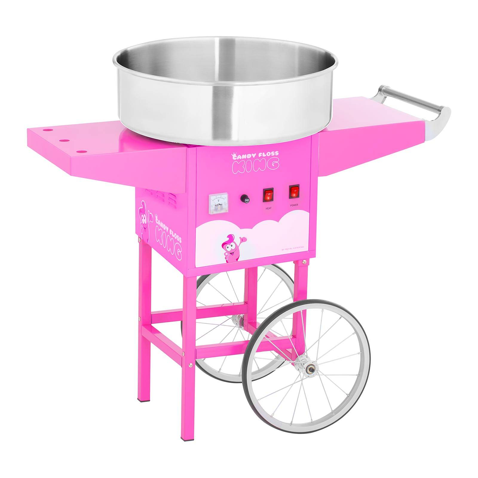 Royal Catering Machine à barbe à papa avec chariot - 52 cm - 1 200 W - rose