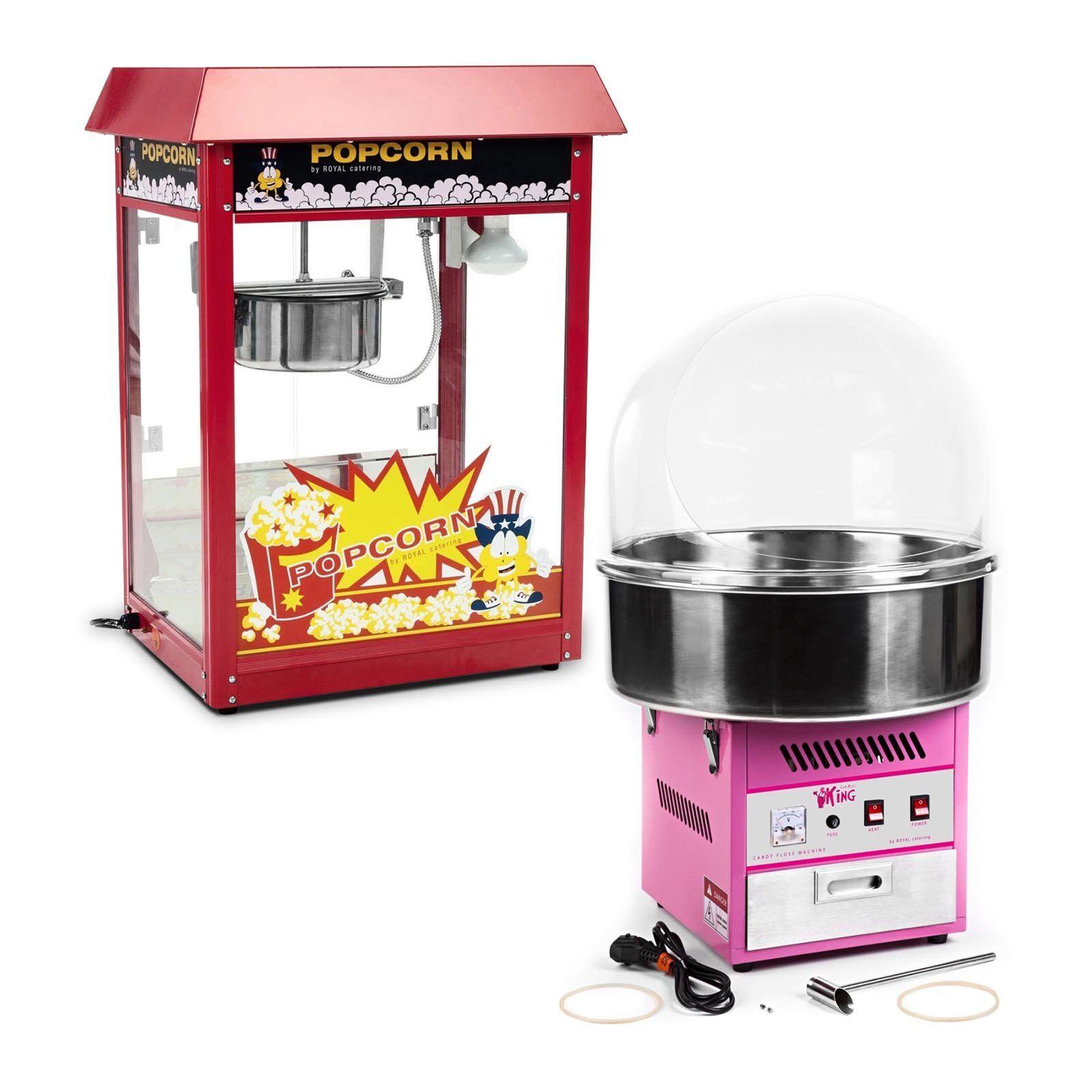 Royal Catering Kit machine à popcorn et machine à barbe à papa - 1 600 W / 1 200 W - Coupole de protection comprise RCPR-16E-SET