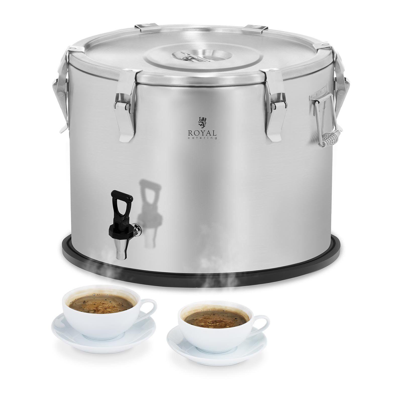 Royal Catering Conteneur isotherme - acier inoxydable - 50 L - avec robinet