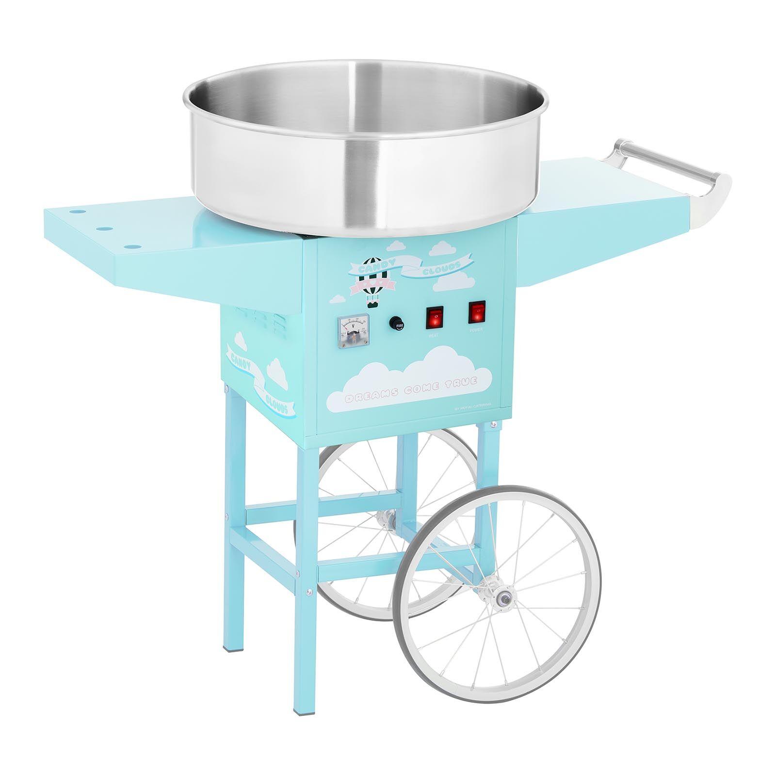 Royal Catering Machine à barbe à papa avec chariot - 52 cm - 1200 W - turquoise RCZC-1200-BG