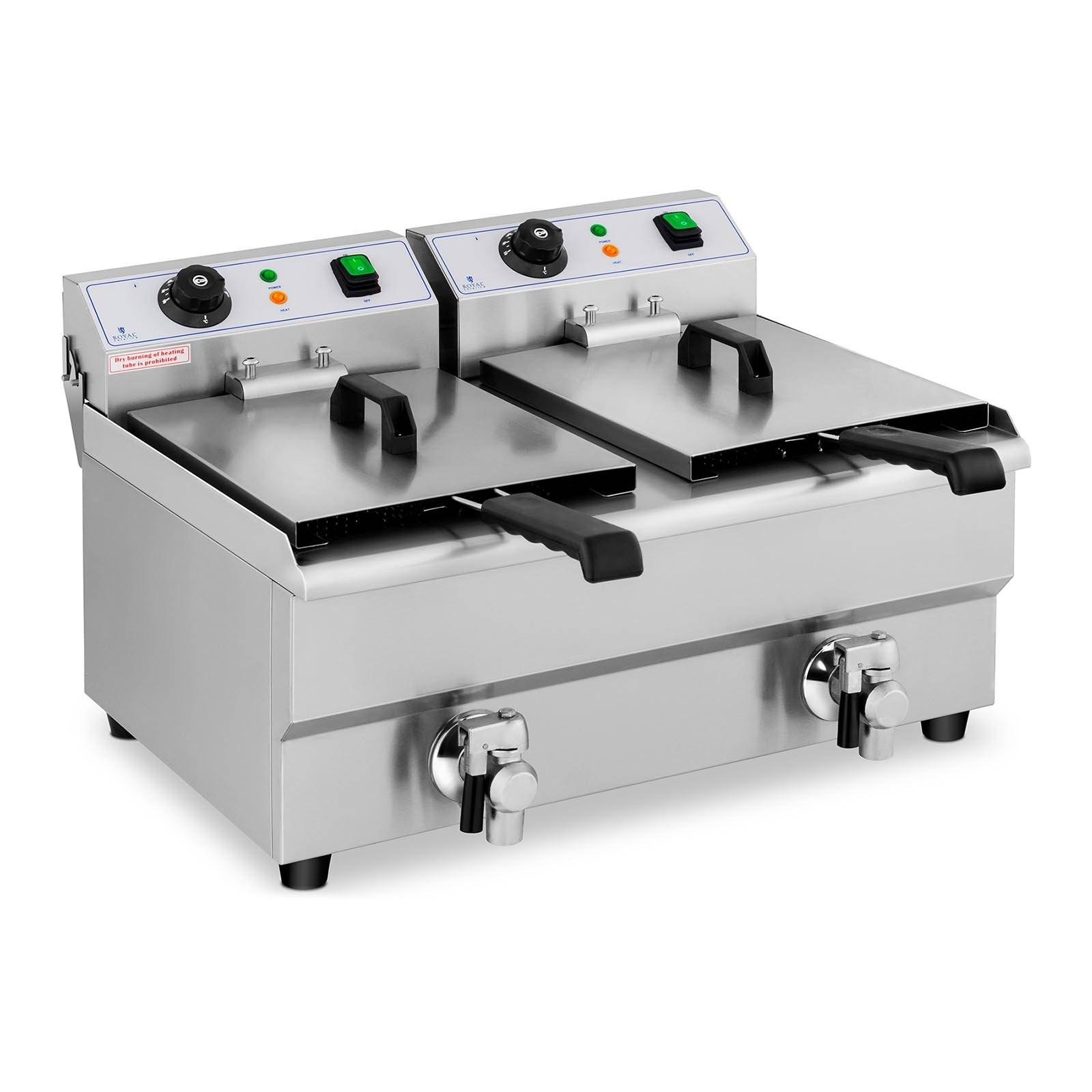 Royal Catering Friteuse électrique - 2 x 10 litres - Robinets de vidange RCEF 10DB